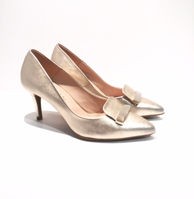 Marian Court Shoes in Champagne Metallic