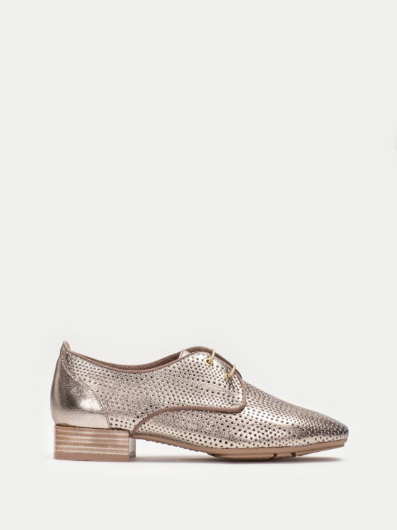 HISPANITAS Bronze Metallic Laced Shoes