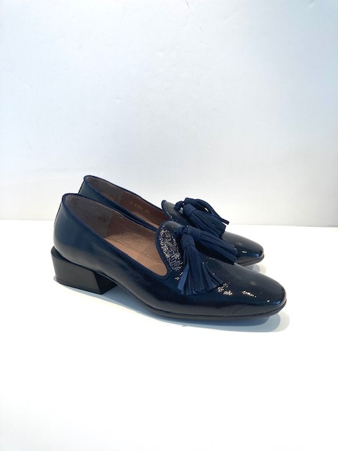Wonders Navy Patent Loafers