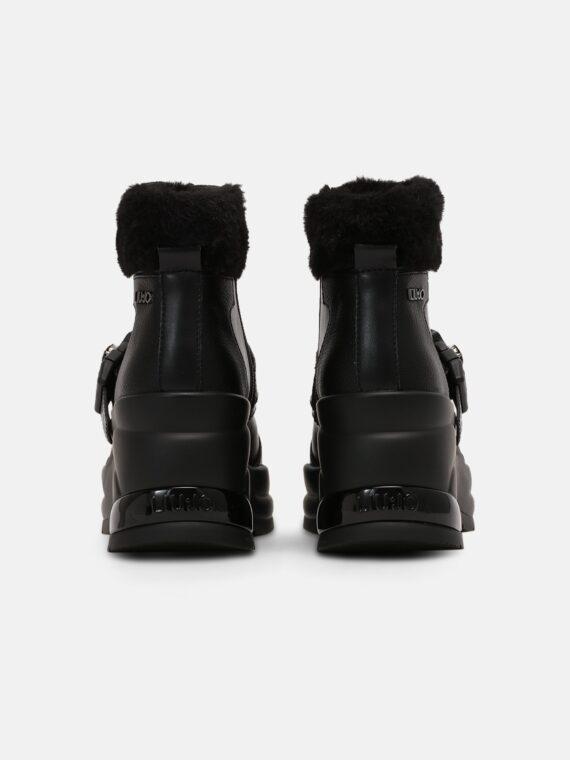 LIU JO Karlie Revolution Bootie in Black Trimmed with Faux Fur