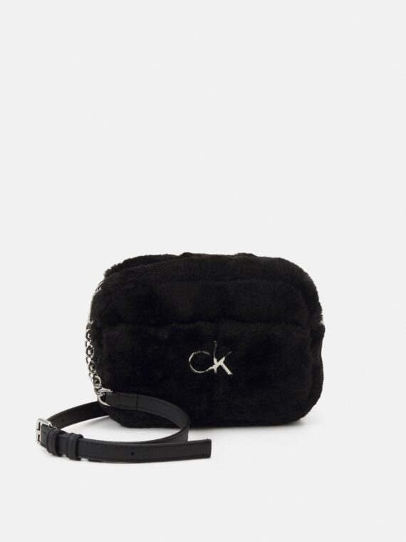 Calvin Klein Re-Lock Camera Bag in Black Faux Fur
