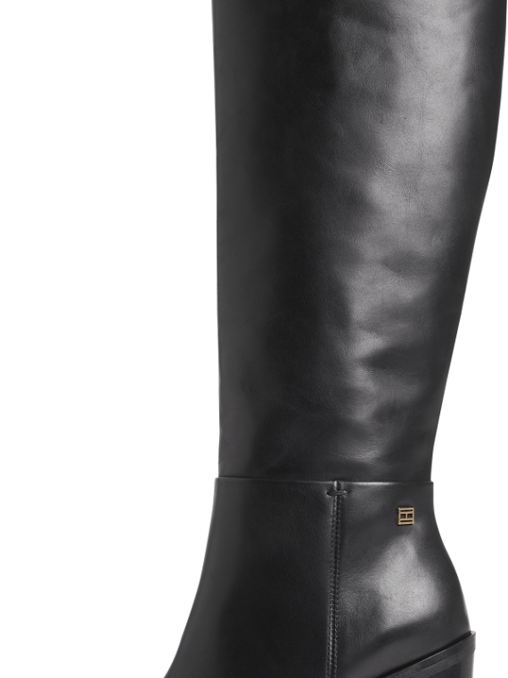 Tommy Hilfiger TH Flag Stud Long Boots in Black Leather