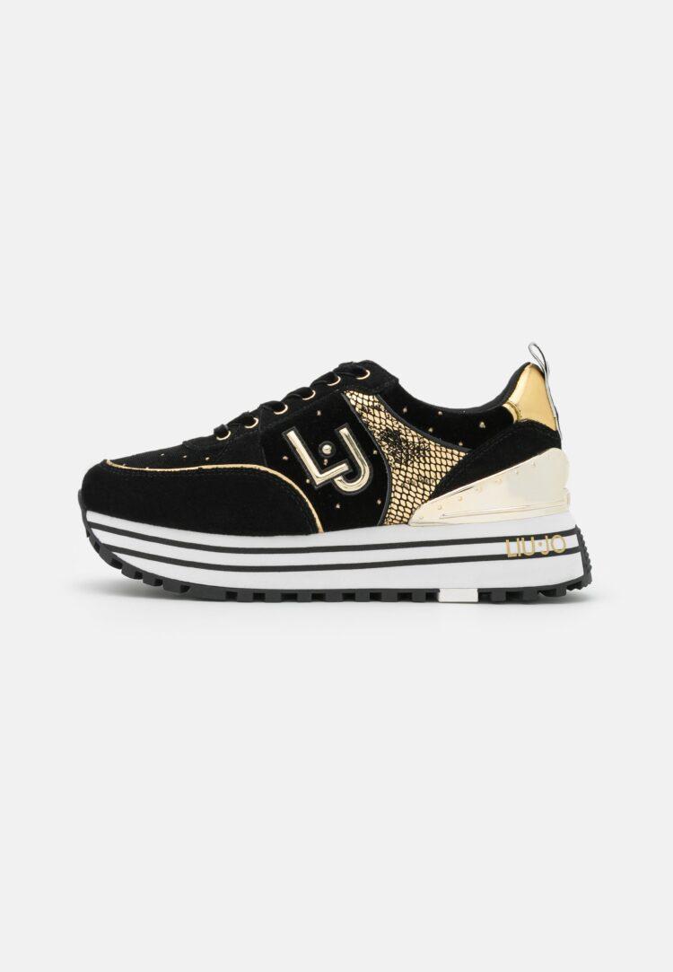LIU JO Maxi Wonder 20 Trainers in Black & Gold