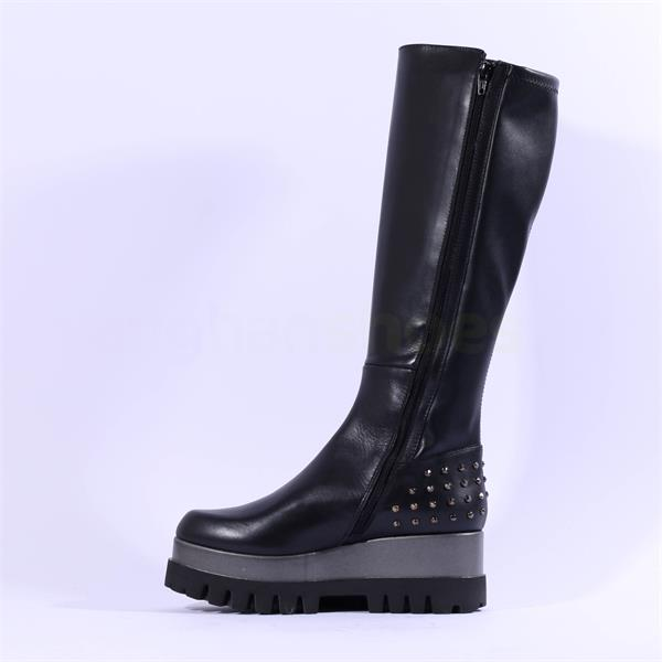Marco Moreo Jackie Stud Knee High Boots in Black