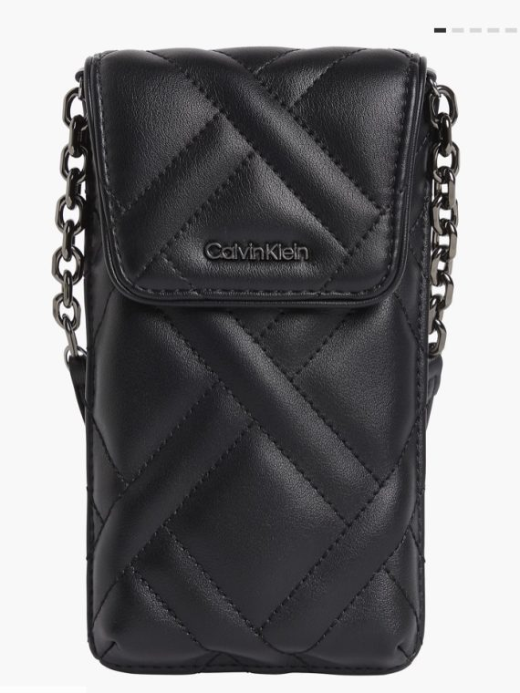 Calvin Klein Quilted Phone Pouch Crossbody in Black