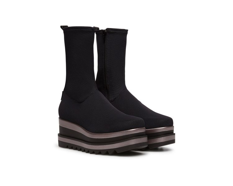 Marco Moreo Alanis Black Stretch Wedge Ankle Boots