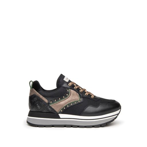 NeroGiardini Black Leather Trainers with NG Logo & Gold Laces