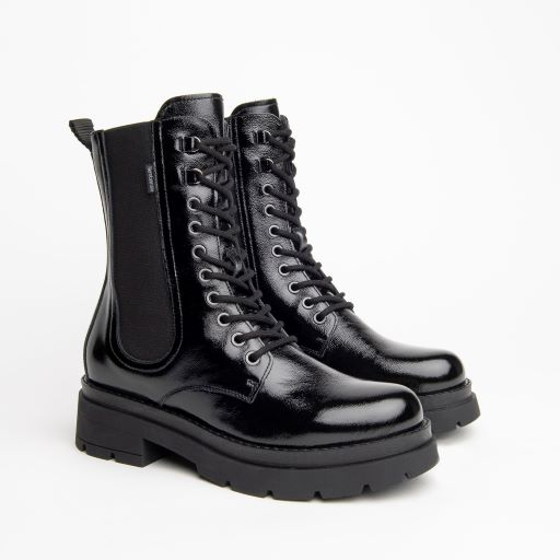 NeroGiardini Lace Up Boot in Black Patent Leather