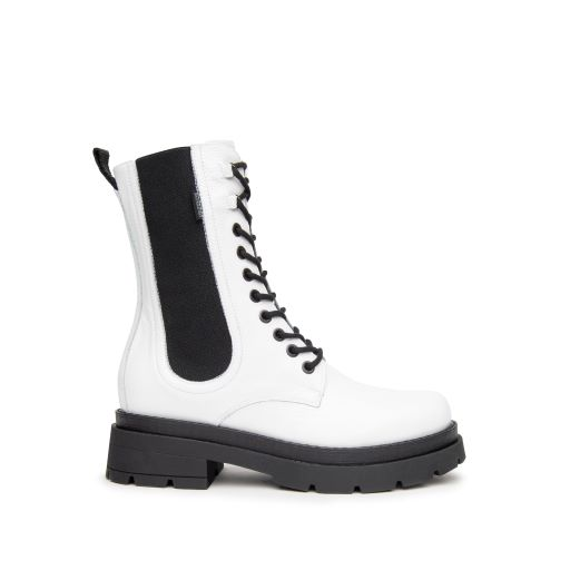 NeroGiardini Lace Up Boots in White Patent Leather