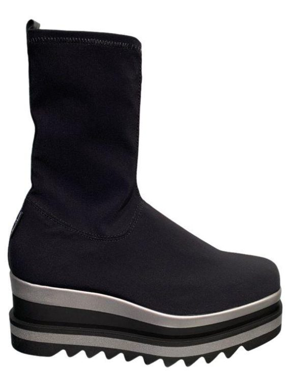 Marco Moreo Black Stretch Wedge Boots