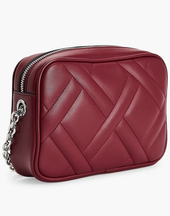 Calvin Klein Quilted Camera Bag in Red Currant