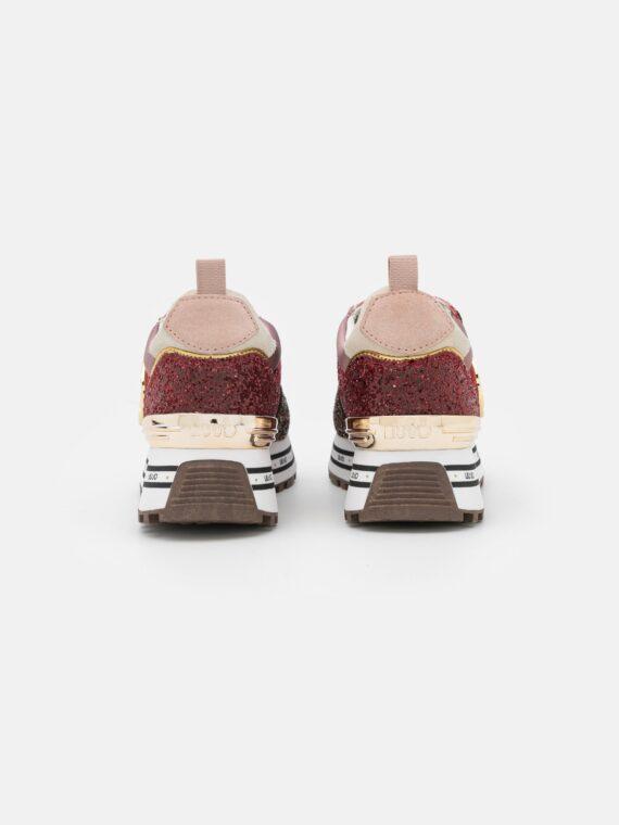 LIU JO Maxi Wonder Sneaker in Brown Red Glitter