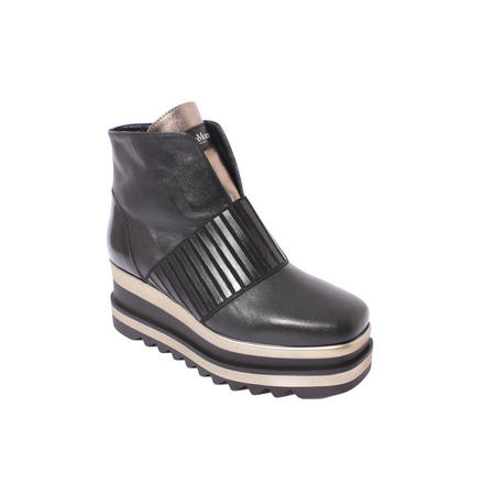 Marco Moreo Sissi Ankle Boot in Black (Gold Striped Wedge)