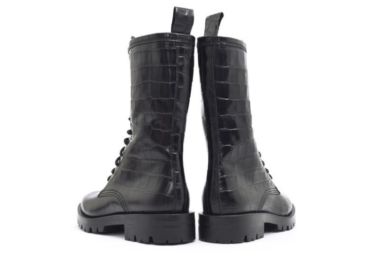 ALPE Military Black Lace up Boots in Croc Effect Leather