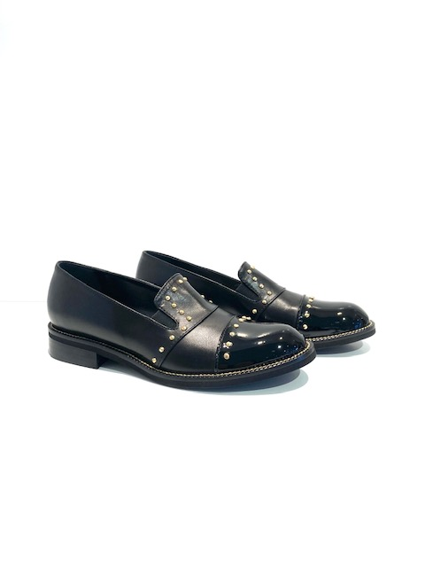 Marco Moreo Black Loafers with Gold Studs
