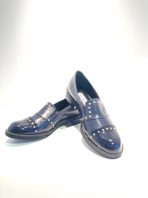 Marco Moreo Navy Loafers with Gold Studs
