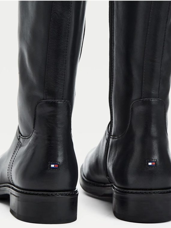 Tommy Hilfiger Black TH Hardware Leather Long Boots