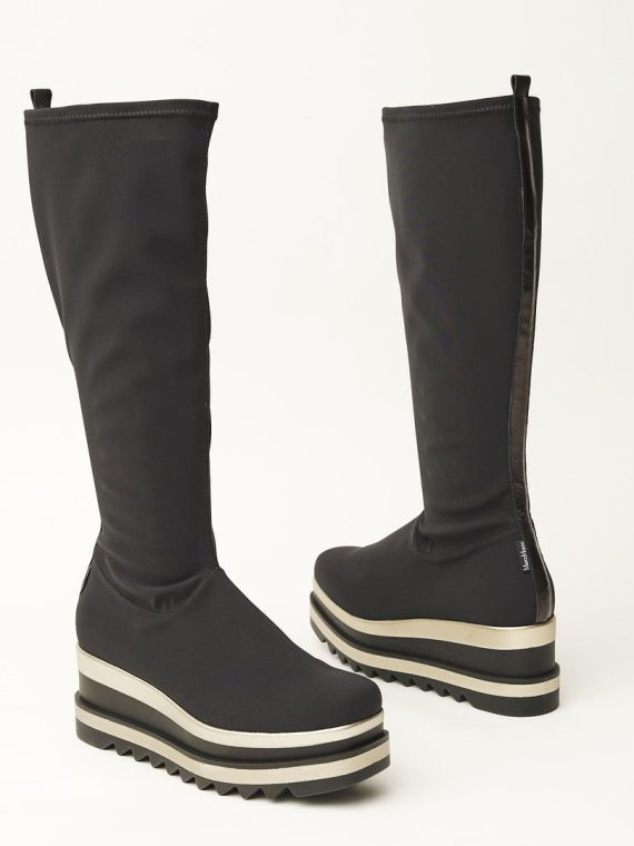 Marco Moreo Black Stretch Long Boots with Gold Stripe Wedge